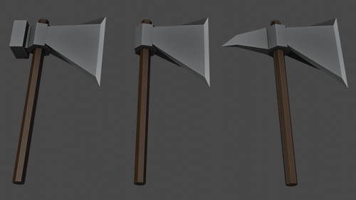 Set of 3 low poly axes preview image