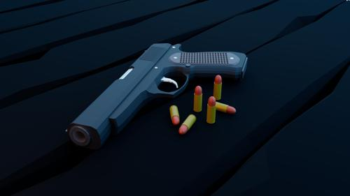 Low poly pistol sceene preview image