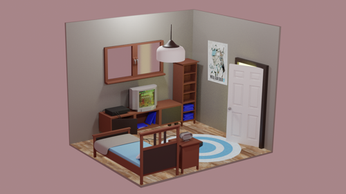 Isometric Bedroom Scene preview image