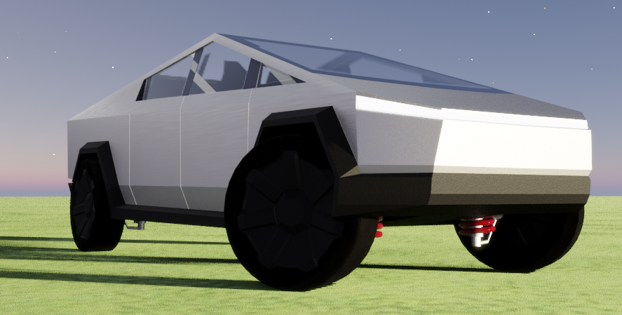 Rigged Tesla Cybertruck low poly preview image 1