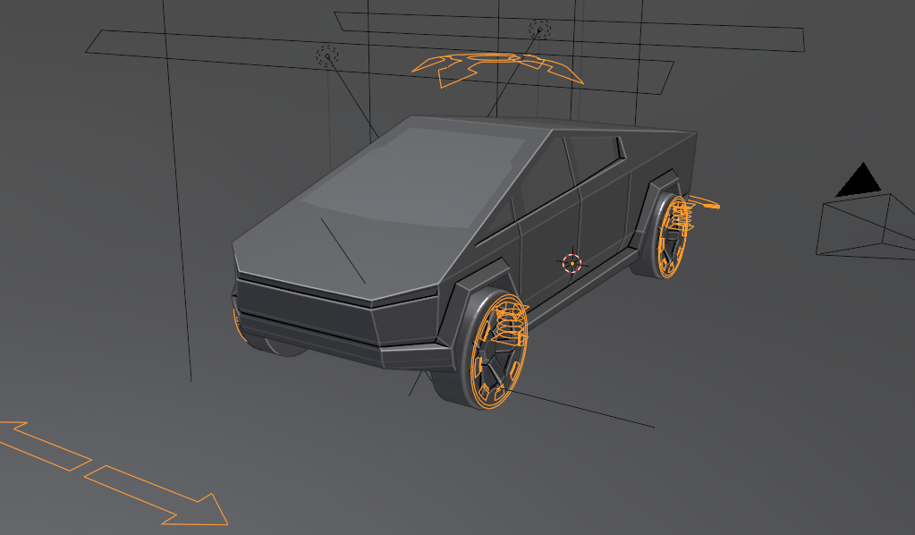 Rigged Tesla Cybertruck low poly preview image 2