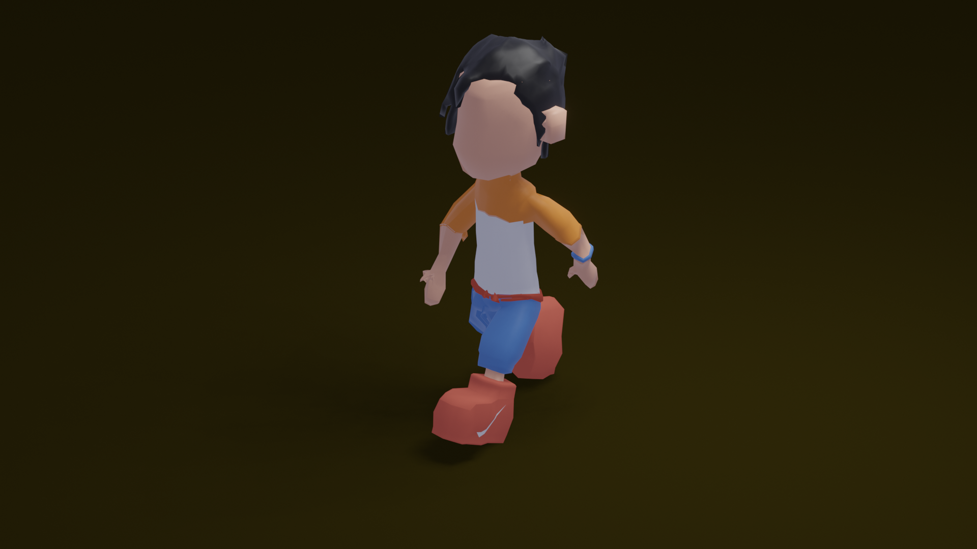 free model lowpoly guy big shoes (rigged) preview image 2