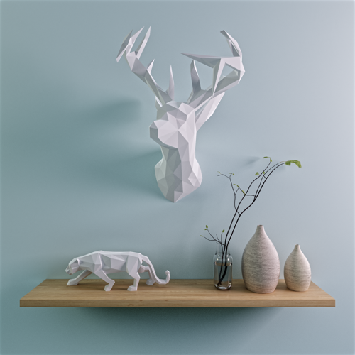 Low Poly Deer on Wall Scene preview image