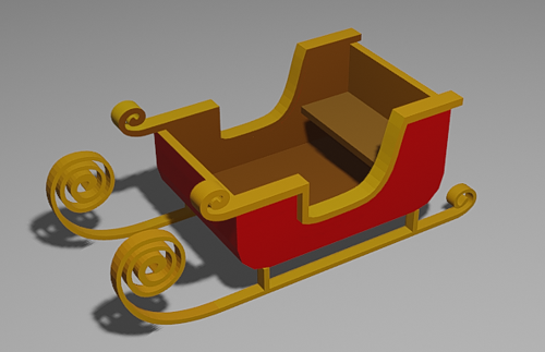 Low Poly Christmas Sleigh preview image