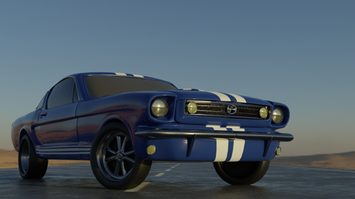 Blue and White Muscle Car preview image