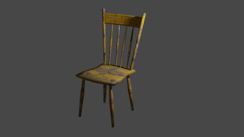 OLD WOODEN CHAIR (LOW-POLY) preview image