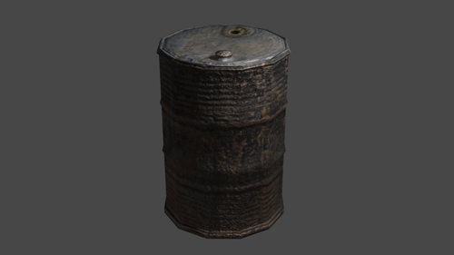 RUSTY METAL BARREL  (LOW POLY) preview image