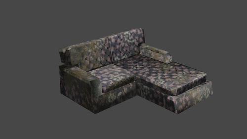 Dusty L-Shaped Sofa (LOW POLY) preview image