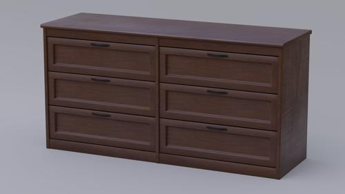 Dark Wood Dresser With Fully Modelled Drawers preview image
