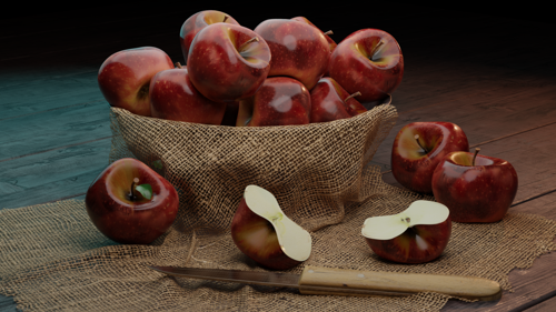 Realistic apple with cotton fabric preview image