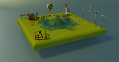 Low Poly Island Scene preview image
