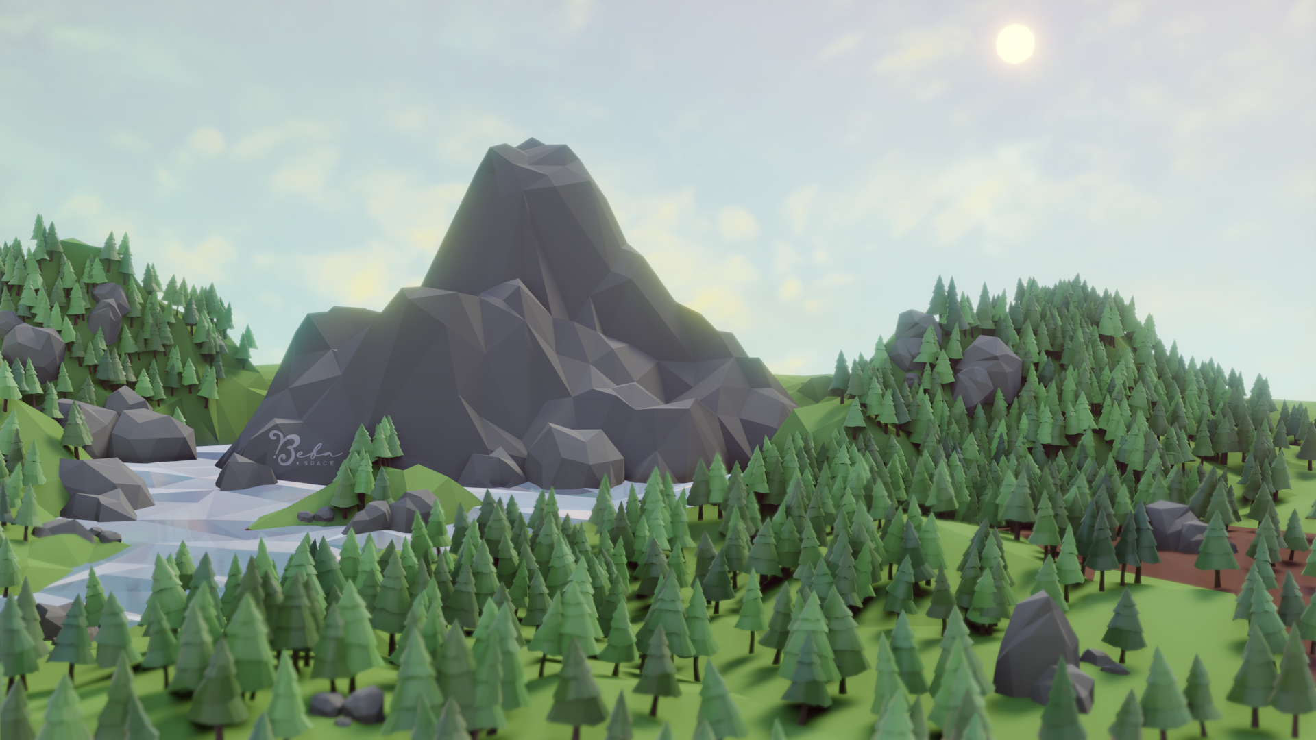 Low Poly Scenery, Hills and Lake preview image 1