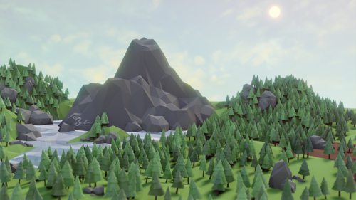Low Poly Scenery, Hills and Lake preview image
