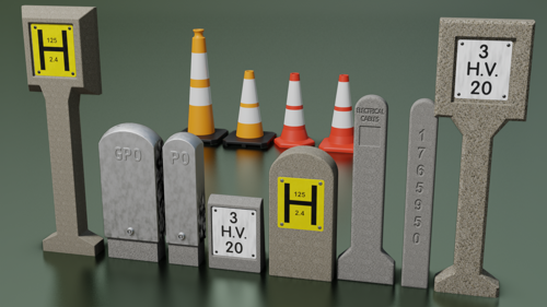 Traffic cones with Hydrant and cable markers preview image