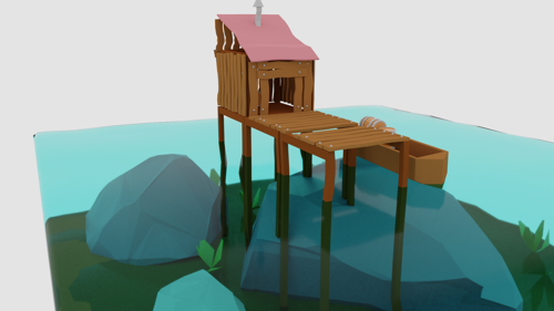 Low Poly Sea-House preview image