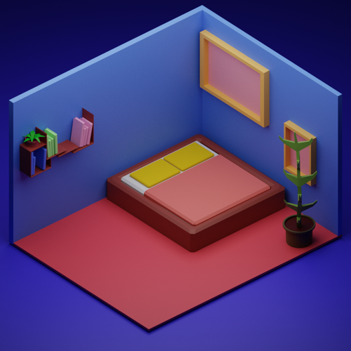 Isometric Low Poly Deluxe Bedroom  preview image