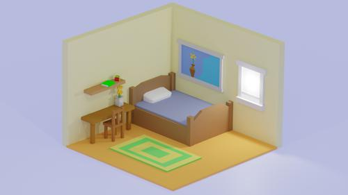 Low Poly Bedroom preview image
