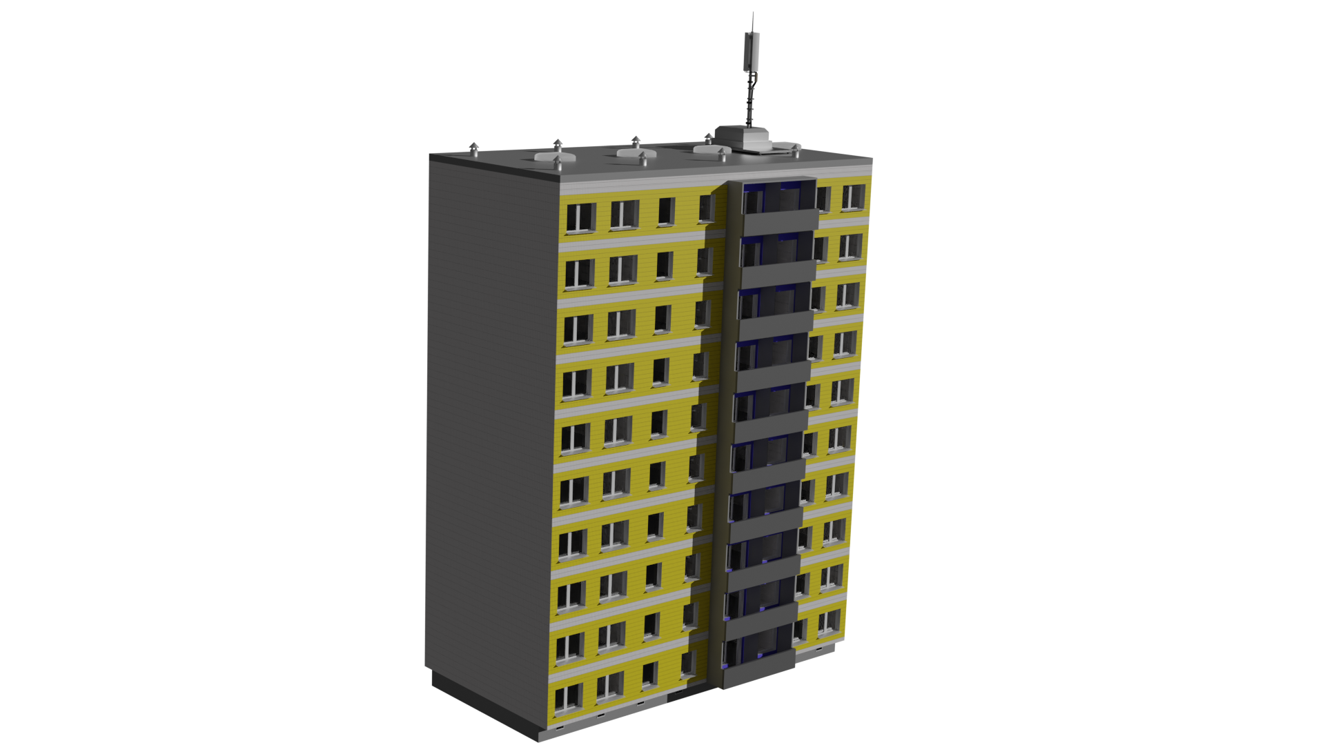 Modular Instustrialized Apartment Block (Low Poly) preview image 1