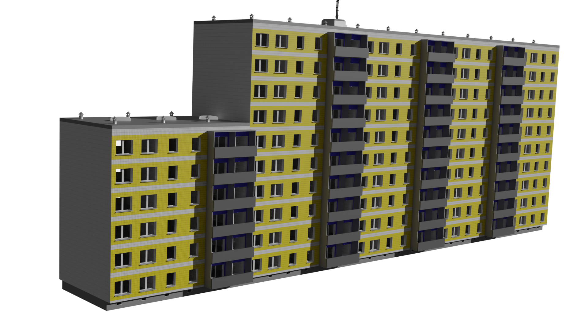 Modular Instustrialized Apartment Block (Low Poly) preview image 2