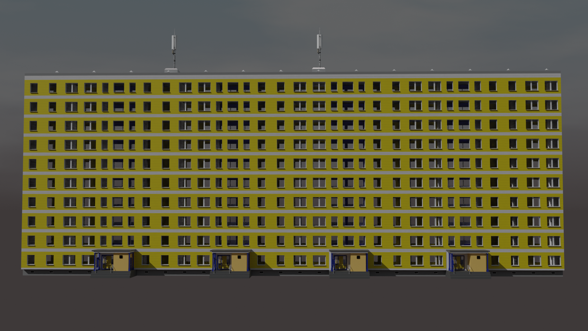 Modular Instustrialized Apartment Block (Low Poly) preview image 4