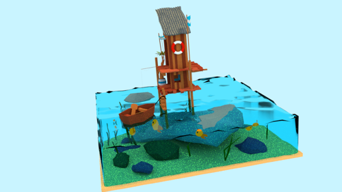 Low poly sea shack preview image