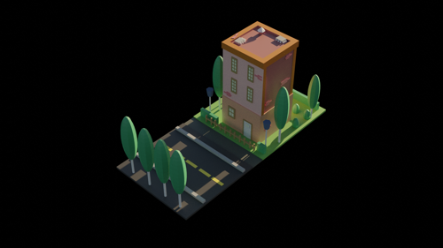 Low poly building scene NIGHT/DAY preview image