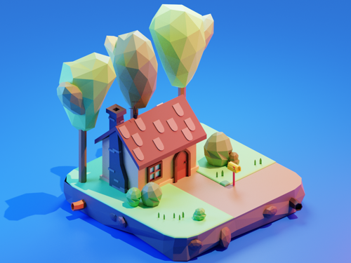 Cartoon house low poly art preview image