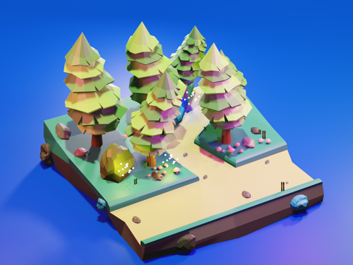 Low poly forest, trees scene II FREE preview image