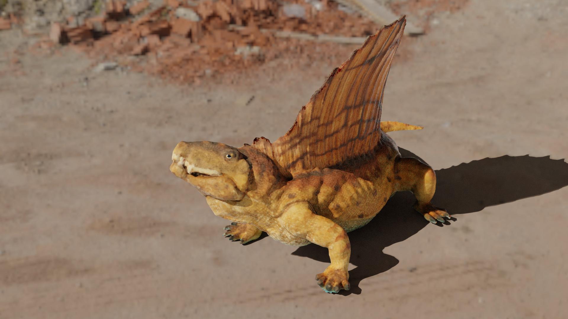 Dimetrodon toy scan preview image 1