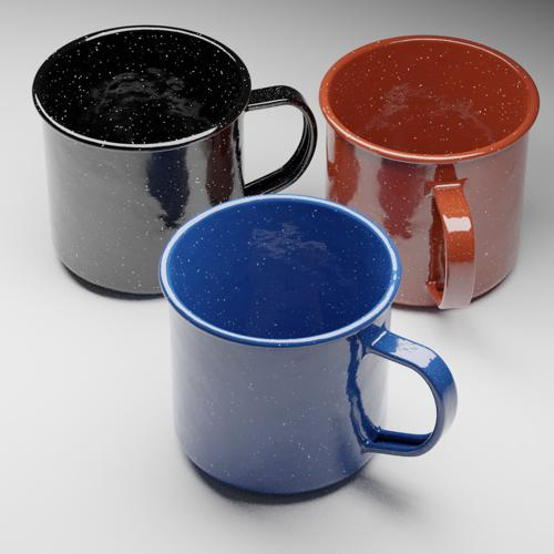 Enamel Camping Mug with Procedural Material preview image