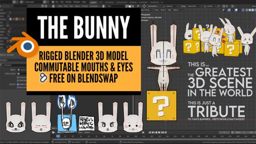 The Bunny - FREE RIGGED BLENDER 3D MODEL, W/ COMMUTABLE MOUTHS & EYES preview image