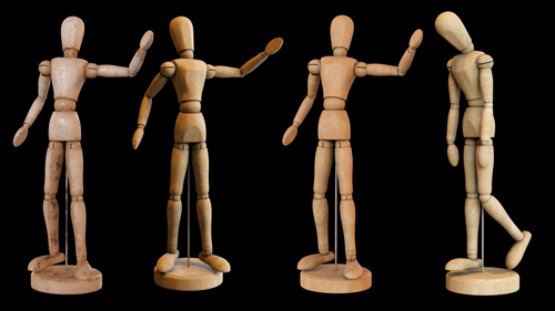 Wooden Mannequin for artists with basic Rig preview image