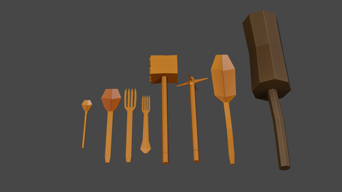 Medieval low poly kitchen tools preview image