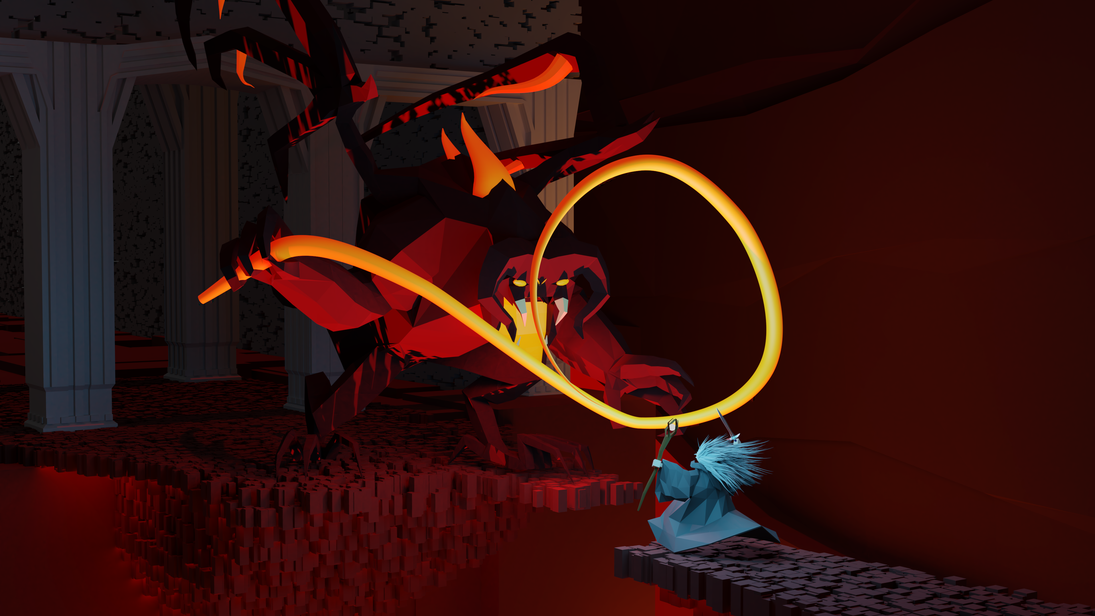 Balrog low poly with armature preview image 1