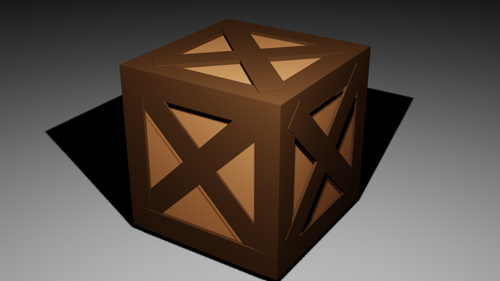 low poly wooden box preview image