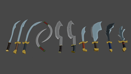 Low poly 10 swords set preview image