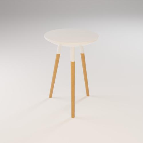 Stool White and Wood (45 cm) preview image