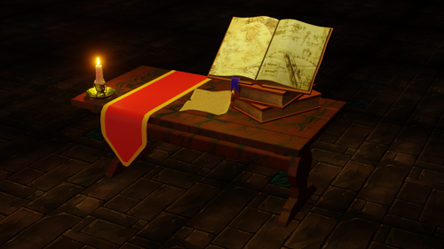 Ancient Book Game Asset Low Poly preview image
